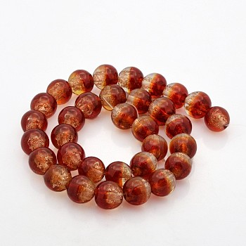 OrangeRed Handmade Two Tone Gold Sand Lampwork Round Beads Strands, OrangeRed, 12mm, Hole: 2mm; about 33pcs/strand, 15.7""