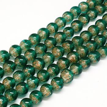 DarkSeaGreen Handmade Two Tone Gold Sand Lampwork Round Beads Strands, DarkSeaGreen, 12mm, Hole: 2mm; about 33pcs/strand, 15.7""