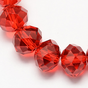 Red Handmade Glass Beads, Faceted Rondelle, Red, 6x4mm, Hole: 1mm; about 90~93pcs/strand