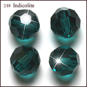 Teal Imitation Austrian Crystal Beads, Grade AAA, Faceted, Round, Teal, 4mm, Hole: 0.7~0.9mm