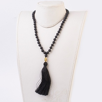 Black Agate Natural Black Agate Buddha Pendant Necklaces, with Alloy Findings and Nylon Tassels, Frosted, 109 Beads, 39.3 inches (100cm), Pendant: 115mm long