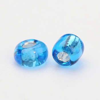 SteelBlue 8/0 Glass Seed Beads, Silver Lined Round Hole, Round, SkyBlue, 3mm, Hole: 1mm; 10000 beads/pound