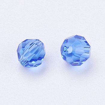 Blue Imitation Austrian Crystal Beads, Grade AAA, Faceted, Round, Blue, 4mm, Hole: 0.7~0.9mm