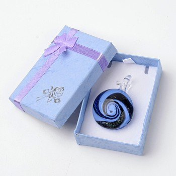 CornflowerBlue Box-packed Handmade Dichroic Glass Pendants, Half Round Lampwork Pendant with Random Color Exquisite Cardboard Necklace Box, CornflowerBlue, 29~31x11.5~12.5mm, Hole: 5~7mm