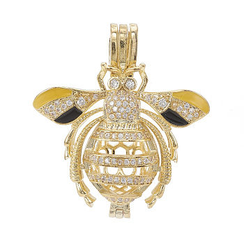 Golden Alloy Enamel Diffuser Locket Pendants, with Micro Pave Cubic Zirconia, Cage Pendants, Bees, Clear, Golden, 35x31x12mm, Hole: 3x6mm; Inner Measure: 20.5x10mm