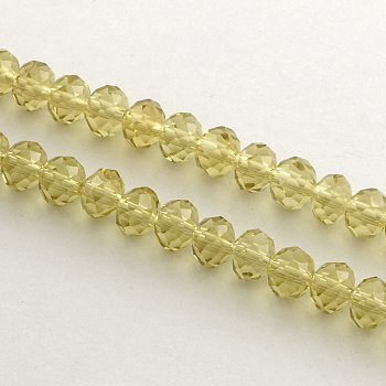 Gold Handmade Glass Beads, Faceted Rondelle, Gold, 6x4mm, Hole: 1mm; about 90~93pcs/strand