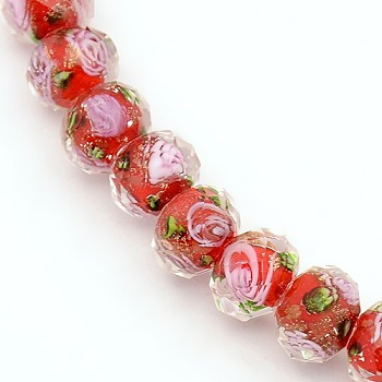 Red Handmade Gold Sand Lampwork Rondelle Beads Strands, Faceted, Red, 10x7mm, Hole: 2mm; about 50pcs/strand, 13.77""