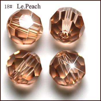 PeachPuff Imitation Austrian Crystal Beads, Grade AAA, Faceted, Round, PeachPuff, 4mm, Hole: 0.7~0.9mm