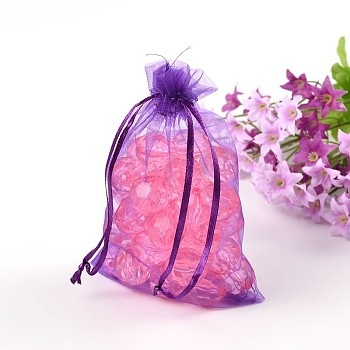 Dark Violet Organza Gift Bags with Drawstring, Jewelry Pouches, Wedding Party Christmas Favor Gift Bags, Dark Violet, 10x8cm