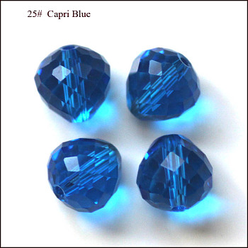 Dodger Blue Imitation Austrian Crystal Beads, Grade AAA, Faceted, Teardrop, Dodger Blue, 6mm, Hole: 0.7~0.9mm