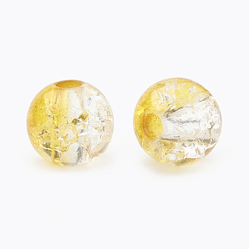 Gold Acrylic Beads, Transparent Crackle Style, Round, Gold, 8x7mm, Hole: 2mm; about 1840pcs/500g