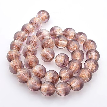 RosyBrown Handmade Two Tone Gold Sand Lampwork Round Beads Strands, RosyBrown, 12mm, Hole: 2mm; about 33pcs/strand, 15.7""