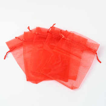 Red Organza Gift Bags, Wedding Favour Bags, Red, 7x5x0.2cm