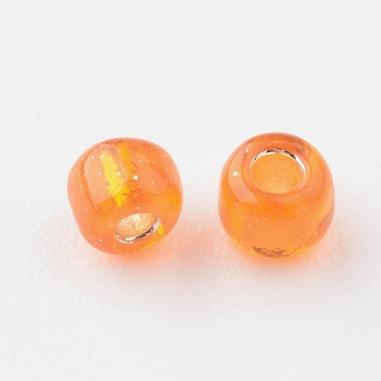 OrangeRed 8/0 Glass Seed Beads, Silver Lined Round Hole, Round, OrangeRed, 3mm, Hole: 1mm; about 10000 beads/pound