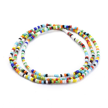 Mixed Color Glass Seed Beads Chain Belts, with Korean Elastic Crystal Thread, for Waist Beads Body Jewelry, Beaded Necklace, Wrap Bracelet, Hair Decoration, Mixed Color, 31.5 inches(80cm)