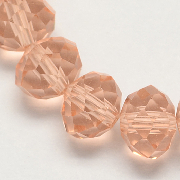 Dark Salmon Handmade Glass Beads, Faceted Rondelle, Dark Salmon, 6x4mm, Hole: 1mm; about 90~93pcs/strand