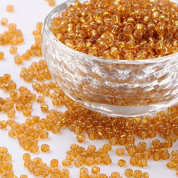 Goldenrod 8/0 Glass Seed Beads, Silver Lined Round Hole, Round, Goldenrod, 3mm, Hole: 1mm; about 10000 beads/pound