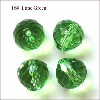 Lime Green Imitation Austrian Crystal Beads, Grade AAA, Faceted, Teardrop, Lime Green, 6mm, Hole: 0.7~0.9mm
