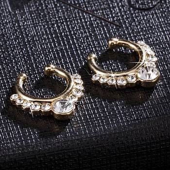 Clear Personality Brass Cubic Zirconia Nose Studs Nose Piercing Jewelry, Golden, Clear, 17x16mm