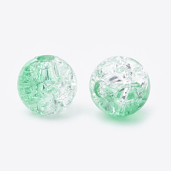 Aquamarine Acrylic Beads, Transparent Crackle Style, Round, Aquamarine, 8x7mm, Hole: 2mm; about 1840pcs/500g