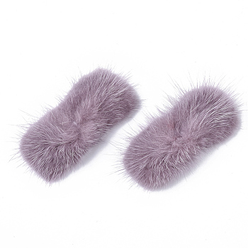 Flamingo Faux Mink Fur Rectangle Decoration, Pom Pom Ball, for DIY Bowknot Hair Accessories Craft, Flamingo, 8~8.5x3.7~4cm; about 21pcs/board