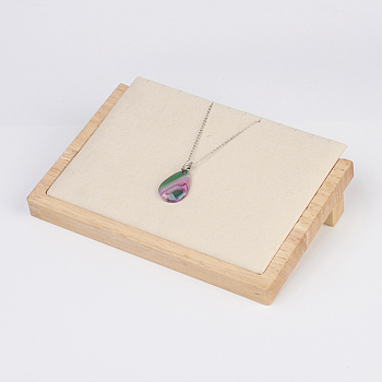 PeachPuff Wood Necklace Displays, with Faux Suede, Long Chain Display Stand, Rectangle, PeachPuff, 20.5x14.5x4.5cm