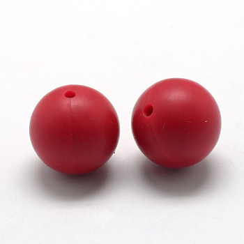 Red Food Grade Environmental Silicone Beads, Chewing Beads For Teethers, DIY Nursing Necklaces Making, Round, Red, 14~15mm, Hole: 2mm