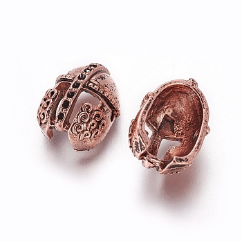 Antique Rose Gold Tibetan Style Alloy Bead Rhinestone Settings, Gladiator Helmet, Antique Rose Gold, Fit For 1mm Rhinestone; 16.5x12x9mm, Hole: 1.6mm