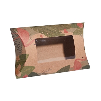 BurlyWood Paper Pillow Boxes, Gift Candy Packing Box, with Clear Window, Flamingo Pattern, BurlyWood, 17.5x10.05x3.85cm