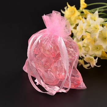 Pink Organza Bags, Wedding Favour Bags, Mother's Day Mother's Day Gift Bags , Rectangle, Pink, about 10cm wide, 15cm long