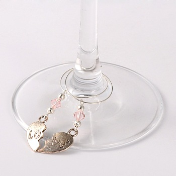 Pink Tibetan Style Heart with Love Wine Glass Charms, with Glass Beads, Iron Beads and Brass Hoop Earrings, For Valentine's Day, Antique Silver, Pink, 63mm; Pin: 0.7mm