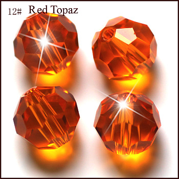 Orange Red Imitation Austrian Crystal Beads, Grade AAA, Faceted, Round, Orange Red, 4mm, Hole: 0.7~0.9mm