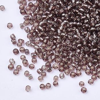 RosyBrown 8/0 Glass Seed Beads, Silver Lined Round Hole, Round, RosyBrown, 3mm, Hole: 1mm; about 10000 beads/pound