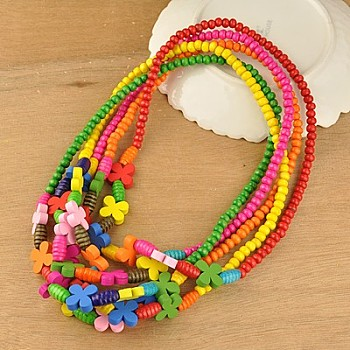 Mixed Color Colorful Wood Necklaces for Kids, Children's Day Gifts, Stretchy, Mixed Color, 18 inches