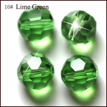 Lime Green Imitation Austrian Crystal Beads, Grade AAA, Faceted, Round, Lime Green, 4mm, Hole: 0.7~0.9mm