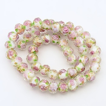 White Handmade Gold Sand Lampwork Rondelle Beads Strands, Faceted, White, 10x7mm, Hole: 2mm; about 50pcs/strand, 13.77""