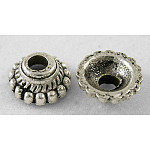 Tibetan Style Alloy Bead Caps, Lead Free & Nickel Free & Cadmium Free, Cone, Antique Silver, about 8mm in diameter, 3mm thick, hole: 2mm, Inner Diameter: 5mm