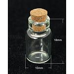 ガラスボトル, コルク栓付き, ビーズの容器, ウィッシングボトル, 透明, 18x10mm, 木製のプラグ:6-7x6~6.5mm;容量:1.5ml, ボトルネック:直径7ミリメートル