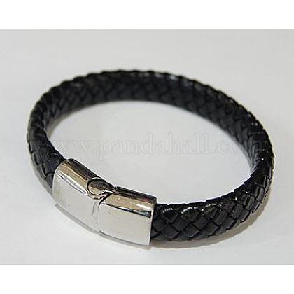 Men's Braided Leather Cord BraceletsBJEW-Q497-1
