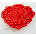 Cinnabar Beads, Carved Lacquerware, Fan, Red, 44mm high, 57mm wide, 7mm thick, hole: 2mm