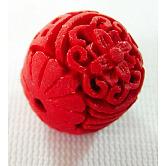 Abalorios de cinabrio, laca tallada, redondo, rojo, 17 mm de largo, 15 mm de espesor, agujero: 2 mm