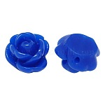 Opaque Resin Beads, Rose Flower, Blue, 9x7mm, Hole: 1mm