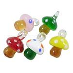 Colgantes artesanales de lampwork, color mezclado, hongos, aproximamente 15 mm de ancho, 25 mm de largo, agujero: 3 mm