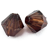 Faceted Bicone Transparent Acrylic Beads, Dyed, CoconutBrown, 3mm, Hole: 1mm; about 41000pcs/500g