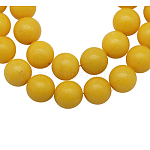 Natural Mashan Jade Beads Strands, Dyed, Round, Gold, 6mm, Hole: 1mm; about 66pcs/strand, 16