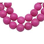 Chapelets de perles en jade Mashan naturel, teinte, ronde, magenta, 6mm, trou: 1mm; environ 66 pcs/chapelet, 16 pouces