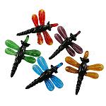 Grande colgante de murano hecho a mano, libélula, color mezclado, aproximamente 57~61 mm de ancho, 67~70 mm de largo, agujero: 7 mm