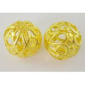 Fer fantaisie perles en filigrane, sans plomb, plaqué or, Longueur 18~20mm,  largeur de 18 mm, Trou: 1.5mm