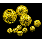 アイアン製透かしビーズ, ニッケルフリー, ラウンド, 金色, サイズ:直径約6~16mm, 厚さ6~15mm, 穴:1~6mm, 約200 G /袋