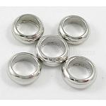Brass Spacer Beads, Rondelle, Nickel Free, Platinum, 3.5x1mm